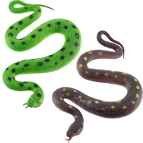 2 Pieces Rubber Snakes 27.5 Inches Realistic Fake Mamba Snake for Garden Props to Scare Birds, Pranks, Halloween Decoration (2 Pieces, 27.5 Inch) -