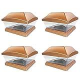 iGlow 4 Pack Copper Outdoor Garden 6 x 6 Solar SMD LED Post Deck Cap Square Fence Light Landscape PVC Vinyl Wood Bronze