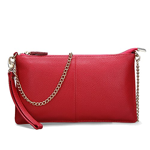 (SEALINF Women's Cowhide Leather Clutch Handbag Small Shoulder Bag Purse (red)