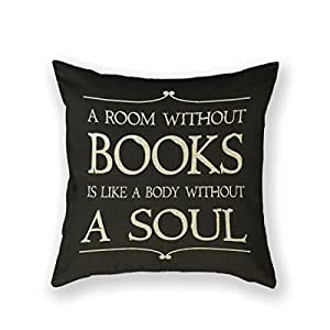 AMountletstore Book Club Librarian Reading Group Books Cotton Linen Decorative Throw Pillow Case 18X18inch