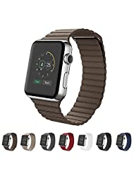 Apple Watch Band 42mm,SUNKONG® Leather Loop Band With Strong Magnetic Closure For All Apple Watch Sport And Edition (42mm brown)