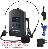 EXMAX ISM 2.4GHz-2.4835GHz Wireless Audio Tour Guide System Transmitter with Headset Microphone for Church,Classroom Lectures,Seminars,Training,Travel,Exhibition,Hajj,Conference(1 Transmitter)