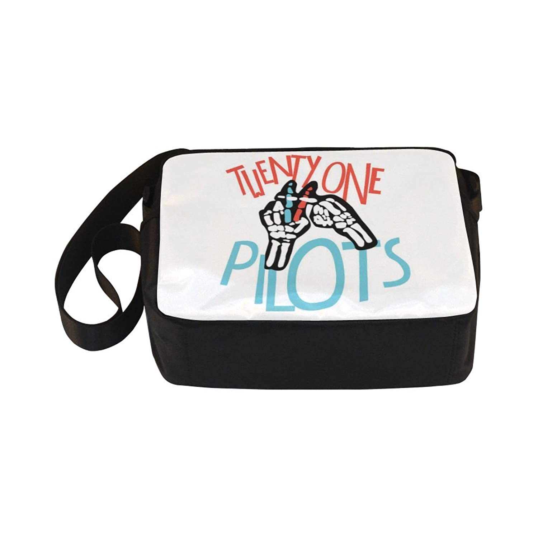 DOROT Twenty One Pilots Band Logo Unisex Nylon Waterproof Material Black Cross-body Nylon Bags Shoulder Bag