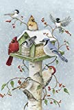 Toland Home Garden Winter Birds 28 x 40 Inch Decorative Snow Bird Cardinal Jay Birdhouse House Flag