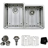 Kraus KHU105-32 32 inch Undermount 50/50 Double Bowl 16 gauge Stainless Steel Kitchen Sink