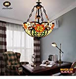 Makenier Vintage Decorative Tiffany Style Stained Glass Floral Design Big Inverted Ceiling Pendant Lamp Fixture - 20 Inches Shade