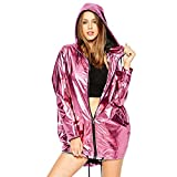La moriposa Shiny Casual Lightweight Long Sleeve Zip up Hoodie Hip Hop Jacket (Rose Red)