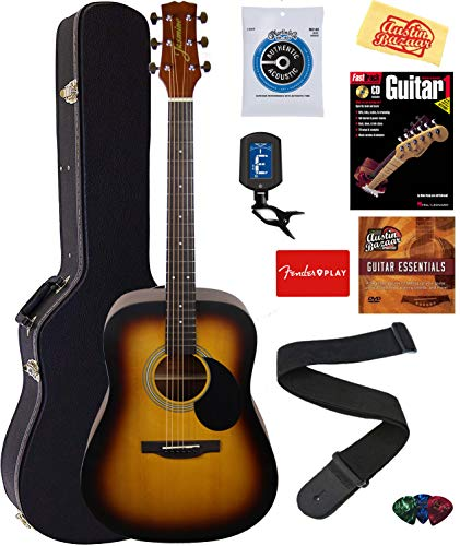 Jasmine S35 Acoustic Guitar – Matte Sunburst Bundle with Hard Case, Strings, Tuner, Strap, Picks, Instructional Book, DVD, and Austin Bazaar Polishing Cloth