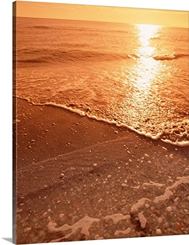Canvas On Demand Premium Thick-Wrap Canvas Wall Art Print entitled Florida, Gulf of Mexico, Sanibel Island, Panoramic view of sunset from a beach (Island Furniture Florida)