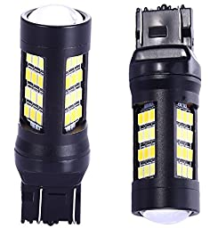 7441 7443 7444 Turn Signal White/Gold Switchback LED Light Bulbs 42 Epistar 2835 SMD chipsets with Projector, for Standard Socket, Not CK- Pair of 2 with load resistors