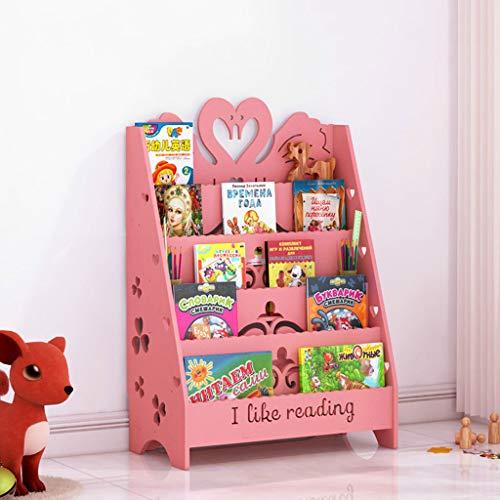 LXYFMS Cartoon Bookshelf Carving Album Living Room Floor Storage Stand Display Stand Children Reading Bookshelf 60x32x90cm Bookcase (Color : Pink, Size : S)