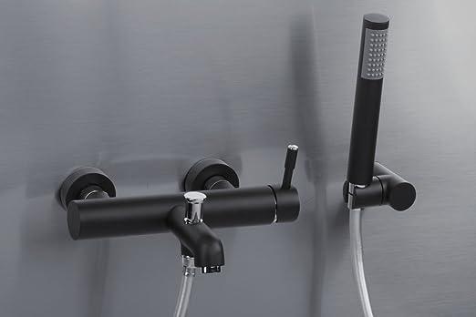 Schwarz badewannenarmatur mit handbrause einhebelmischer warmes und kaltes Wasser mischbatterie dusche wandmontage