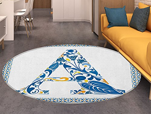 (Letter A Round Area Rug Abstract Geometric Frame with the Letter A Swirls Leafs and Flowers Print Indoor/Outdoor Round Area Rug Blue Yellow Orange)