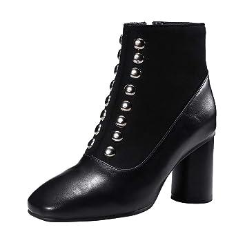 LuckyGirls Botas Las Mujeres Botines Remache Retro Vintage Zapatos de Tacón 7cm Zapatillas Botas de Nieve Botín: Amazon.es: Deportes y aire libre