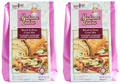 Madame Loulou Gluten Free Bread & Pizza Crust MIx contains fiber (celiac friendly) 14.1oz (Pack of 2) (Bread & Pizza Crust - Italian Machine Bread