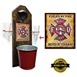 3 Alarm Firefighter Shot Glass Holder, Bottle Opener and Cap Catcher - Handcrafted by a Vet - Made of Solid Pine, Rustic Cast Iron Bottle Opener and Sturdy Mini Galvanized Bucket