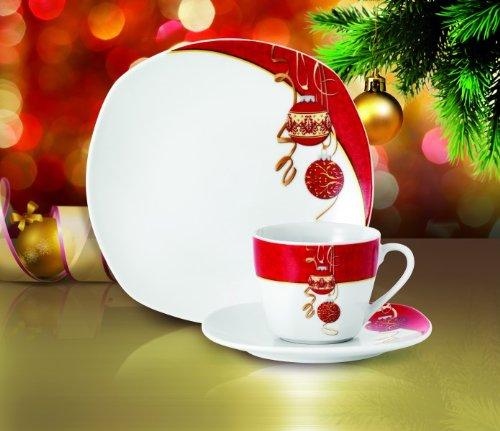 Kaffeeservice Magic Christmas 18tlg. für 6 Personen weiß mit Weihnachtsdekor