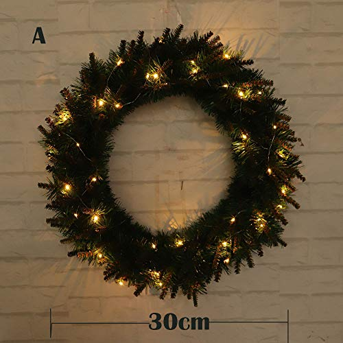 30/40/50cm DIY LED Hanging Wreath Christmas Party Decoration Wall Ornament AGUIguo (A)