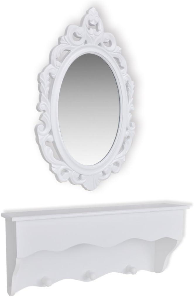 Anself Schl/üsselschrank mit Spiegel und 3 Haken 55 x 15,5 x 22,5 cm Wei/ß