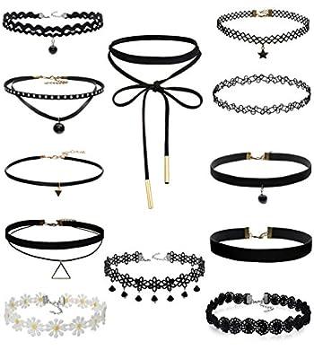 FIBO STEEL 10-12 Pcs Leather Chain Necklace for Women Girls Choker Necklace Velvet Length Adjustable