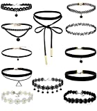 FIBO STEEL 12 Pcs Leather Chain Necklace for Women Girls Choker Necklace Velvet Length Adjustable