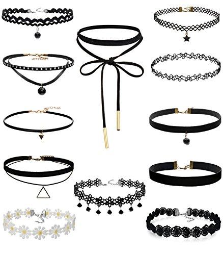 FIBO STEEL 12 Pcs Leather Chain Necklace for Women Girls Choker Necklace Velvet Length Adjustable