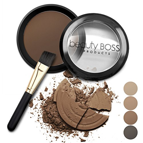 Eyebrow Powder Dark Brown - Natural Fill-in Eyebrow Makeup - Brow Power Water Resistant Includes Small Brush