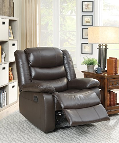 ComfortScape CS-59472 Top Grain Leather Recliner Chair with Motion Mechanism, Espresso