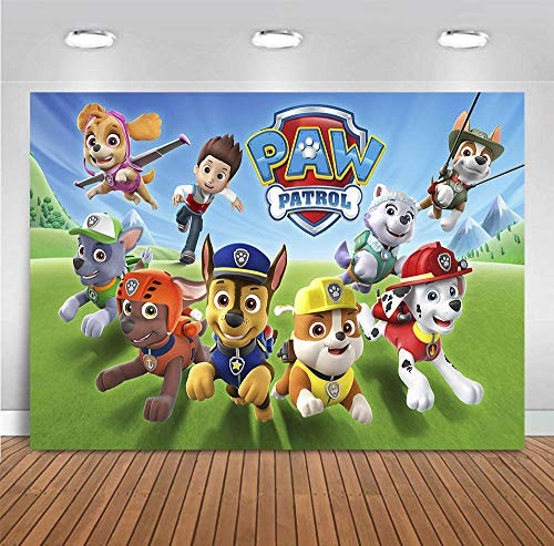 MMY 7x5ft Cartoon Dogs Paw Patrol Photography Backdrop Baby Shower Kids Birthday Party Background Photobooth Props Vinyl Banner Supplies]()