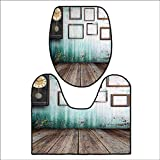 qianhehome Soft Toilet Rug 2 Pieces Set A Vintage Clock and Empty Picture Frames in an Old Wooden Backdrop for Green and Brown. Customized Super Soft Plush L23.5 x W22.5-W15 x H18