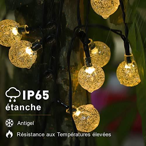 Guirlande Guinguette, Guirlande Solaire Exterieur, 7m 50LEDs 8 Modes Blanc Froid IP65 Imperméables Cristal Boules Lumières de Noël Décoratives pour Maison/Jardin/Fête/Patio/Parti/Mariage