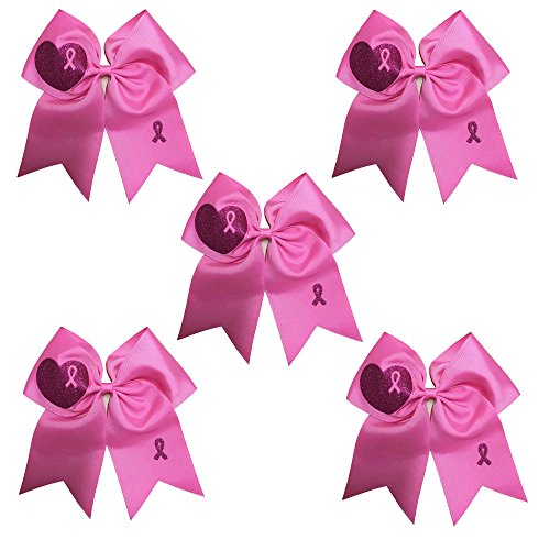 CN 7 Inch Jumbo Breast Cancer Awareness Cheerleading Bow Print Grosgrain Ribbon Hair Bows With Elastic Tie for cheerleader -