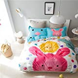 Mumgo Home Bedding Sets for Adult Kids 100% Cotton Cute Lovely Rabbit Pattern Duvet Cover Set-Not Include Comforter (Twin Size-3 Piece, Flat Sheet)
