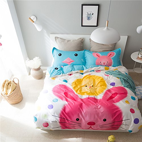Mumgo Home Bedding Sets for Adult Kids 100% Cotton Cute Lovely Rabbit Pattern Duvet Cover Set-Not Include Comforter (Twin Size-3 Piece, Flat Sheet) by Mumgo