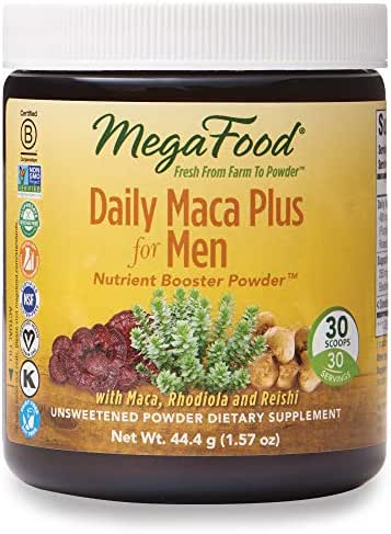 MegaFood, Daily Maca Plus for Men Powder, Supports Overall Health and Vitality, Drink Mix Supplement, Gluten Free, Vegan, 1.57 oz (30 Servings)