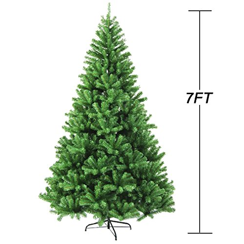 7FT fireproofing Premium Hinged Artificial Christmas Tree W/865 Tips Full Tree Full Christmas Trees
