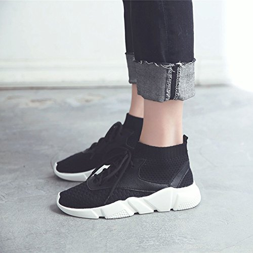 GUNAINDMXSpring/Autumn/High/Tie/Tie/Woman/Casual/Flat/Sneaker black