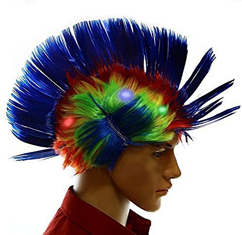 Light-up Blinking LED Party Wig - Rave Halloween Party Costume - Blue