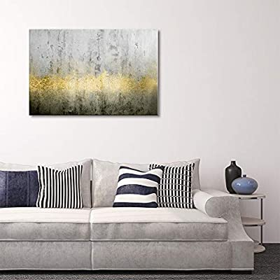 Canvas Print Wall Art - Abstract Grunge Wall with Golden Paints - Gallery Wrap Modern Home Art | Ready to Hang - 12