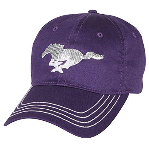 Genuine Ford Mustang Women's Ladies Sequin Pony Purple Baseball Cap Hat