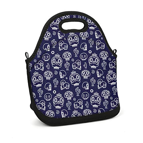 Hiunisyue Lunch Box Blue Mexican Candy Skull Make up Insulated Lunch Bag for Women, Men and Kids - Reusable Soft Lunch Tote for Work School Picnic -