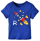 Kids T-Shirt, Rocket Ship Crew Neck Short Sleeve Cartoon Tee Tops for Toddlers & Little Boys, Navy, Tag 90 = US 2Y/Height 35.4''