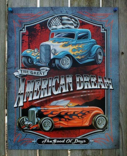 American Dream Tin Sign Man Cave Garage Hot Rod Muscle Car Rat Rod V8 Drag Metal Wall Signs Hall Garage Poster TIN Sign 7.8X11.8 INCH