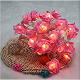 Fding 2.2m Ip65 20 Leds Novelty Flower Rose String Lights for Party Wedding Home Decor Christmas Waterproof Fairy (pink)