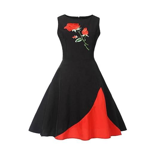 Siviki Women Vintage Floral Bodycon Sleeveless Formal Evening Party Prom Swing Dress (S, Black