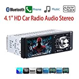 "Masione Car Stereo with Bluetooth FM and Radio in Dash - 4.1"" HD TFT Screen, MP3/Video Player, Single Din USB/AUX-in - Hands-Free Calling, 12V Support, Rear View Camera Input and Remote Control"