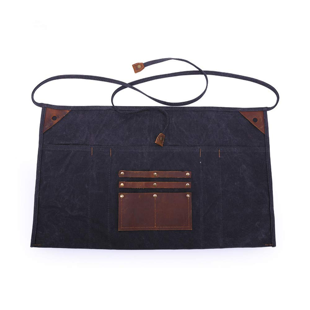 Multipurpose Waxed Canvas Waist Apron with Leather Pockets for Men and Women, Heavy Duty Workshop Half Work Tool Apron Waterproof (Black) by ruizhixuan
