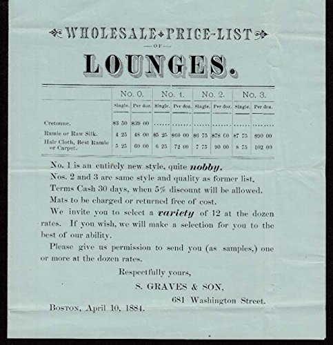 S Graves & Son Wholesale Price List for Lounges & Sofa Beds Boston 1884