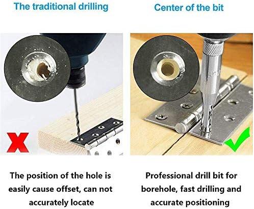 21 Pcs Center Drill Bit Set, Self Centering Hinge Tapper Core Hole Puncher 5/64'' 7/64'' 9/64'' 11/64'' 13/64'' 5mm 1/4'' & 1 Pcs Hex Key & 10 Pcs Replacement Drill Bits Tool