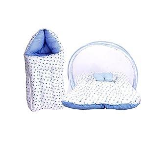 FARETO Baby Mattress with Mosquito Net & Sleeping Bag Combo 0-6 Months (0-6 months, Blue)